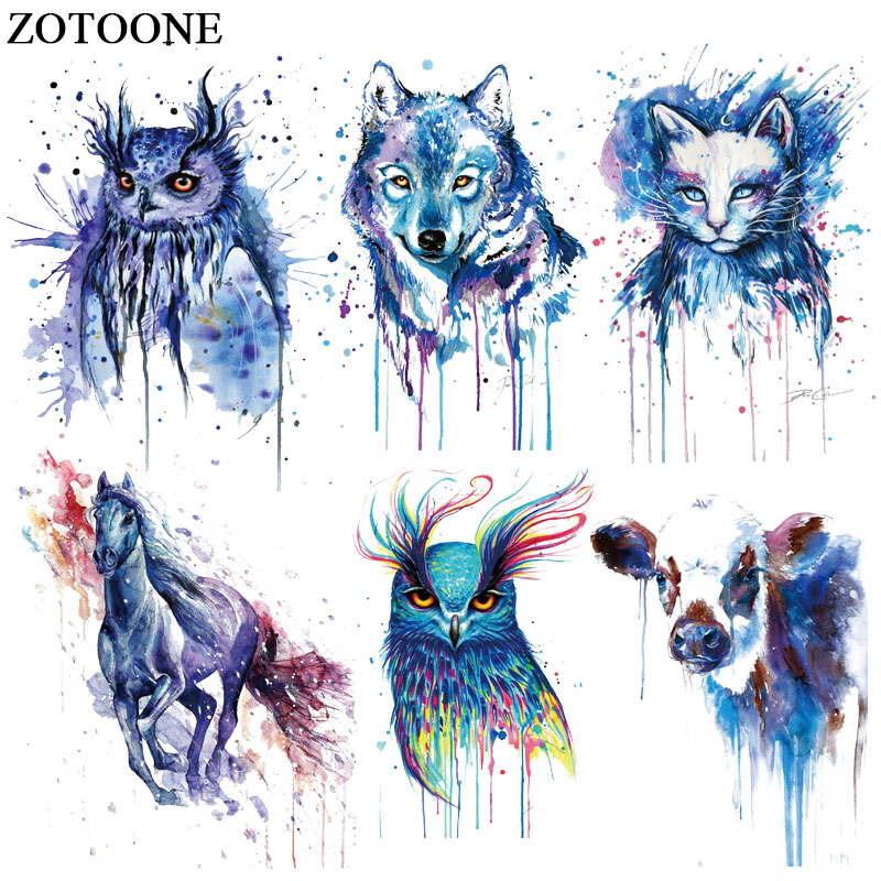 ZOTOONE Colorful Dog Cat Owl Patch Jeans Iron on Transfer for Clothes T-shirt Dresses DIY Thermal Transfer Animal Sticker E skipping rope
