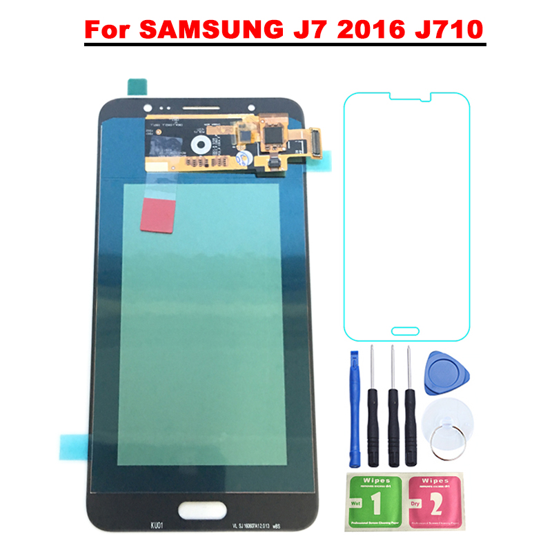 SUPER AMOLED 5.5 ''Écran lcd Pour SAMSUNG Galaxy J7 2016 J710 J710FN J710F J710M J710Y J710G LCD Digitizer Assemblée remplacement