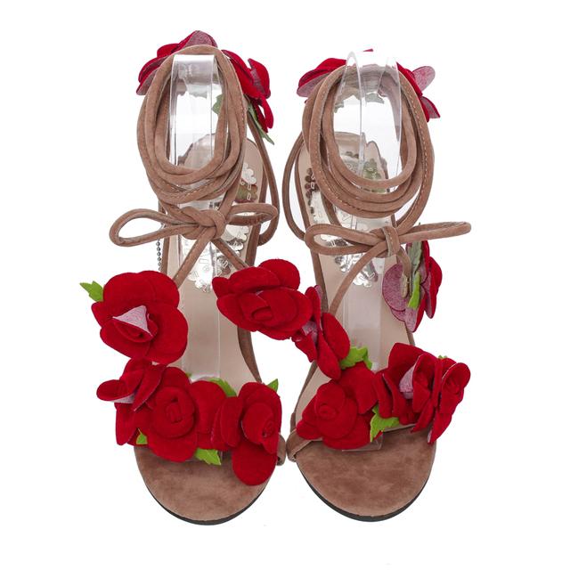 LALA IKAI Flower Open Toe Women Sandals Women Summer Pumps Fashion Lace Up Sandals Women High Heels Sandalias Mujer XWF0619-5