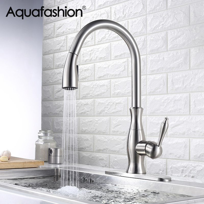 Kitchen Faucets Brushed Nickel Pull Out Kitchen Sink Faucet 360 Swivel Spout Single Handle Kitchen Tap with Faucet Hole Cover