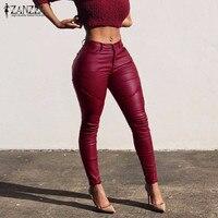 Hot Sale 2016 Fashion Ladies PU Leather Trousers Autumn Women Sexy Skinny Pencil Long Pants Stretch High Waist Capris Plus Size