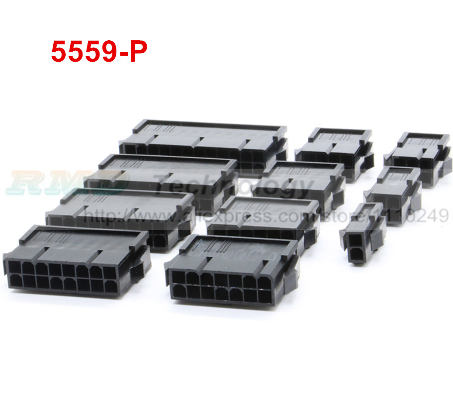 10pcs/lot black 5559-P 5559 4.2mm Automotive wiring harness connector female 2 - 12 pin for PC / computer ATX graphics card 10pcs lot 5569 for 5557 4 2mm automotive wiring connector right angle female 4 12 pin for pc computer graphics card on board