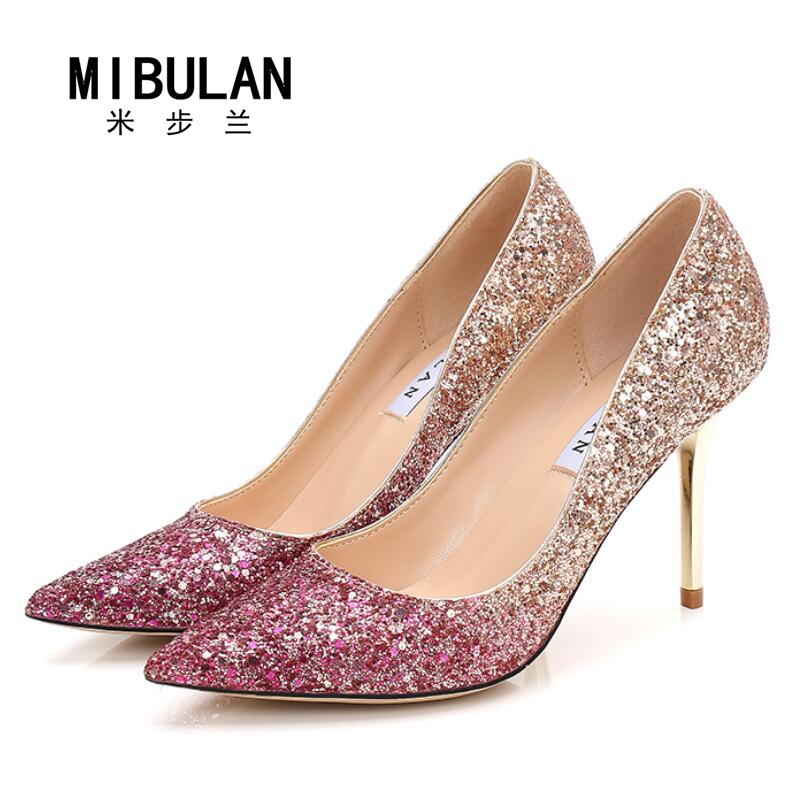 shoes woman 2017 womens shiny fashion sexy sequined cloth wedding pumps womens shining Gradient color big size party pumps