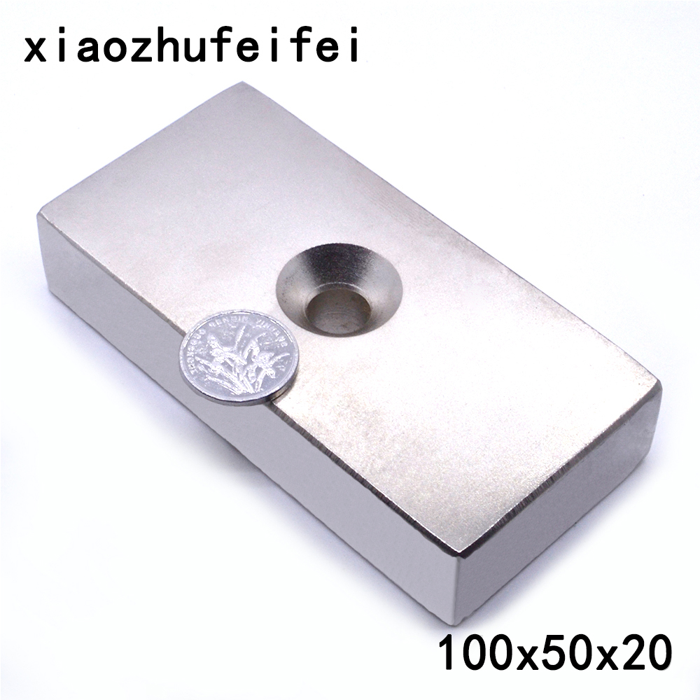 1pcs Ture N50 Block 100 x 50 x 20 mm with hole 10mm Super Strong high quality Rare Earth magnets Neodymium Magnet 100*50*20 mm super strong rare earth re magnets 10mm x 1mm 100 pack