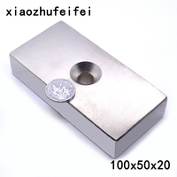 1pcs Ture N50 Block 100 x 50 x 20 mm with hole 10mm Super Strong high quality Rare Earth magnets Neodymium Magnet 100*50*20 mm
