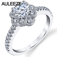 Fine Floral Halo Moissanites Engagement Ring 14K White Gold 1CT Forever Brilliant Lab Grown Diamond