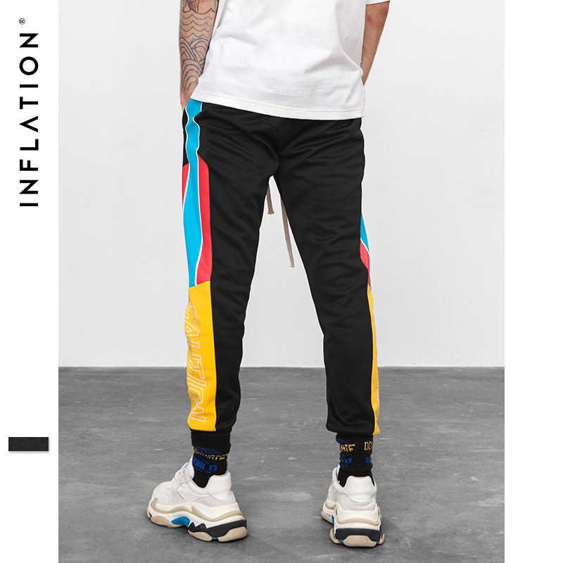 Şişirme 2019 yüksek sokak elastik bel Sweatpants sıska Jogger yan şerit Vintage parça kargo pantolon marka pantolon 8852W