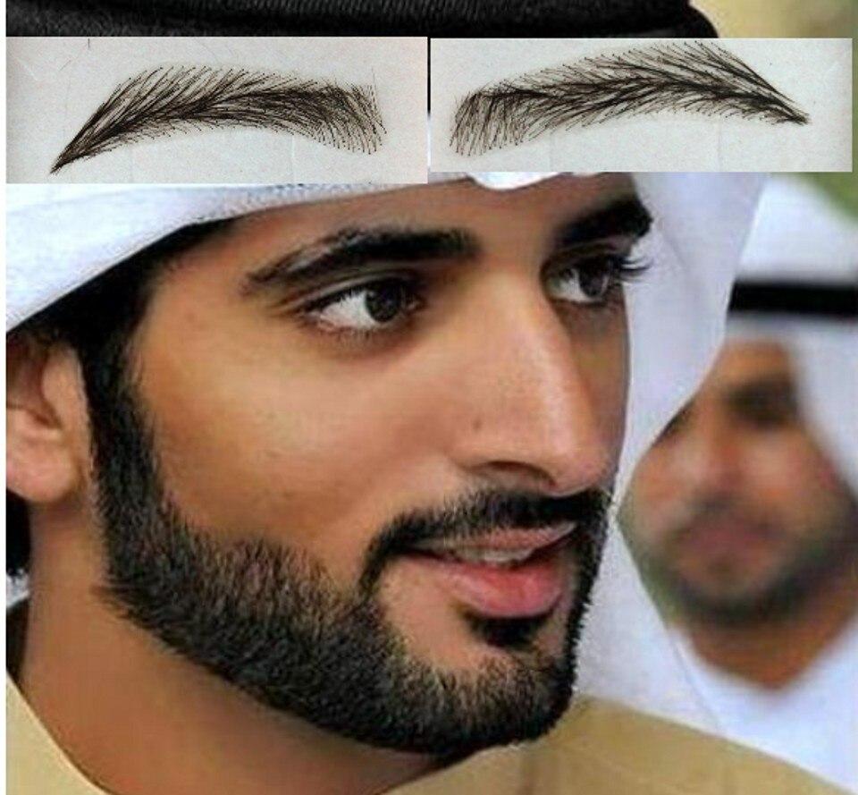 2018 New Sobrancelha Eyebrows With Swiss Lace Base Jet Blackcolor #1 Hand Made Eyelash Extension/ Dubai Prince Rasheed Eyebrow