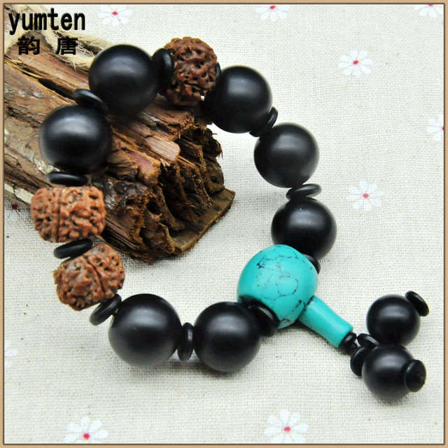 Yumten Nature Black Round Gemstone Pulsera Bracciali Men Jewelry Handmade Charm Bangles Berloque Armband 2017 New Fashion Gift