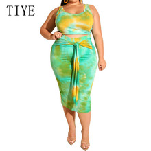 TIYE New Tie-dyed Print Tight-fitting Hip Casual Dress Hollow Out Sleeveless Large Size 3XL 4XL Womens Clothing Bodycon
