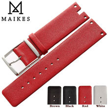 MAIKES New Hot Sales Genuine Calf Leather Watch Band Strap Brown Red Thin Soft watchbands Case For CK Calvin Klein K94231 ck watch strap