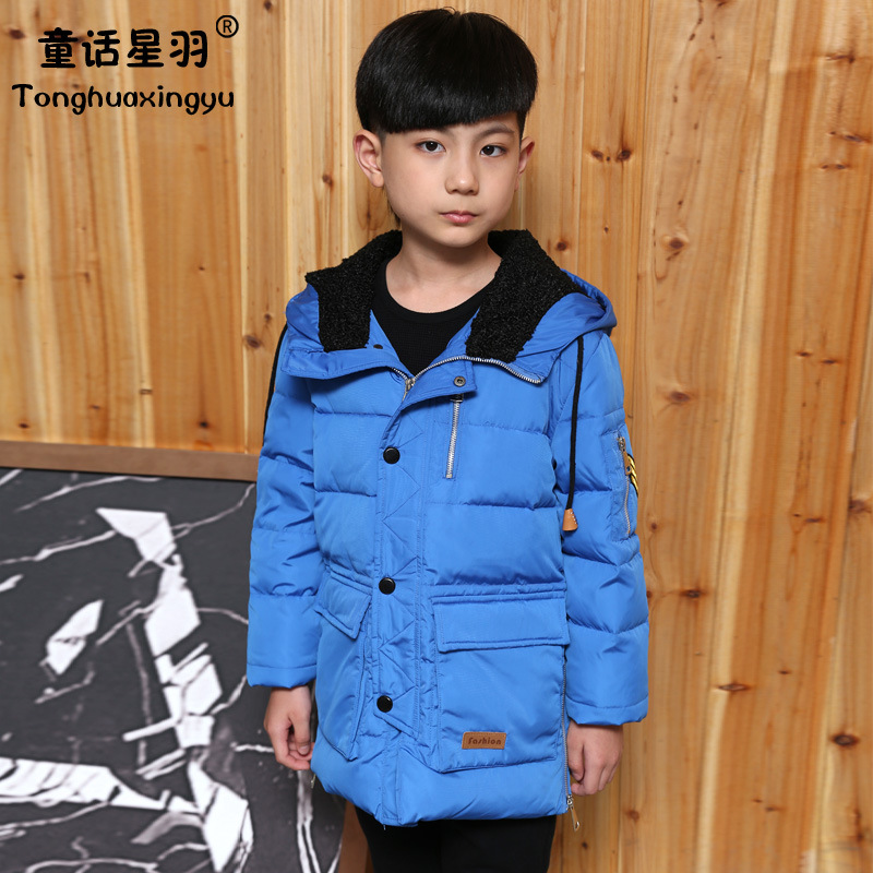 2017 New Winter Boys Duck Down Jacket for Boy Fashion Casual Hooded Thick Warm Boys Down Long Coat Kids Winter Jackets Boy Parka boys thick down jacket 2018 new winter new children raccoon fur warm coat clothing boys hooded down outerwear 20 30degree