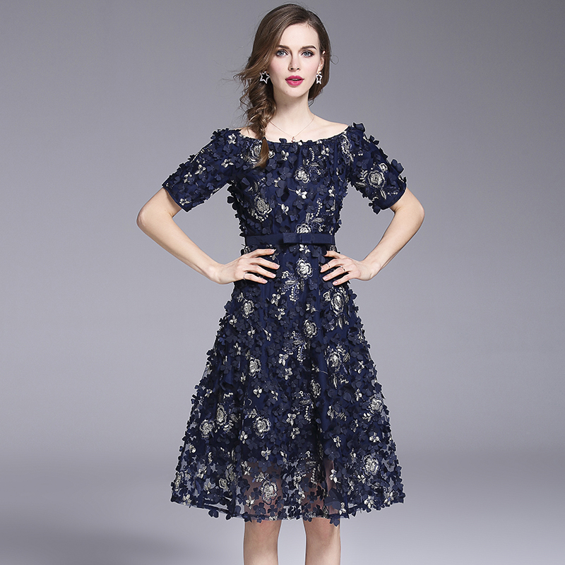 JSXDHK Summer Slash Neck Party Dress Designer Women Embroidery Floral Short Sleeve Dress Luxury 3D Appliquies Female Vestidos