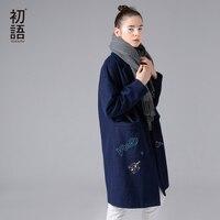 Casaco De Lã Mistura Toyouth Capa Colarinho Padrão de Bordado de Manga Comprida Oversize Médio Longos De Lã Mulheres Casaco de Inverno Casaco de Lã Azul