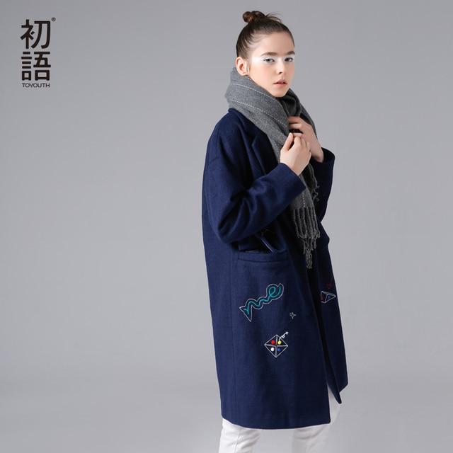 Toyouth Полушерстяное пальто накидка воротник узор вышитые с длинным рукавом средней длины шерстяное пальто Для женщин зима негабаритных Шерстяное пальто синий