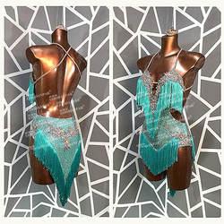Женское платье для латинских танцев GOODANPAR, с бахромой, из лайкры, с бюстгальтером, чашечками для сальсы и самбы, стандартная Одежда для танце...