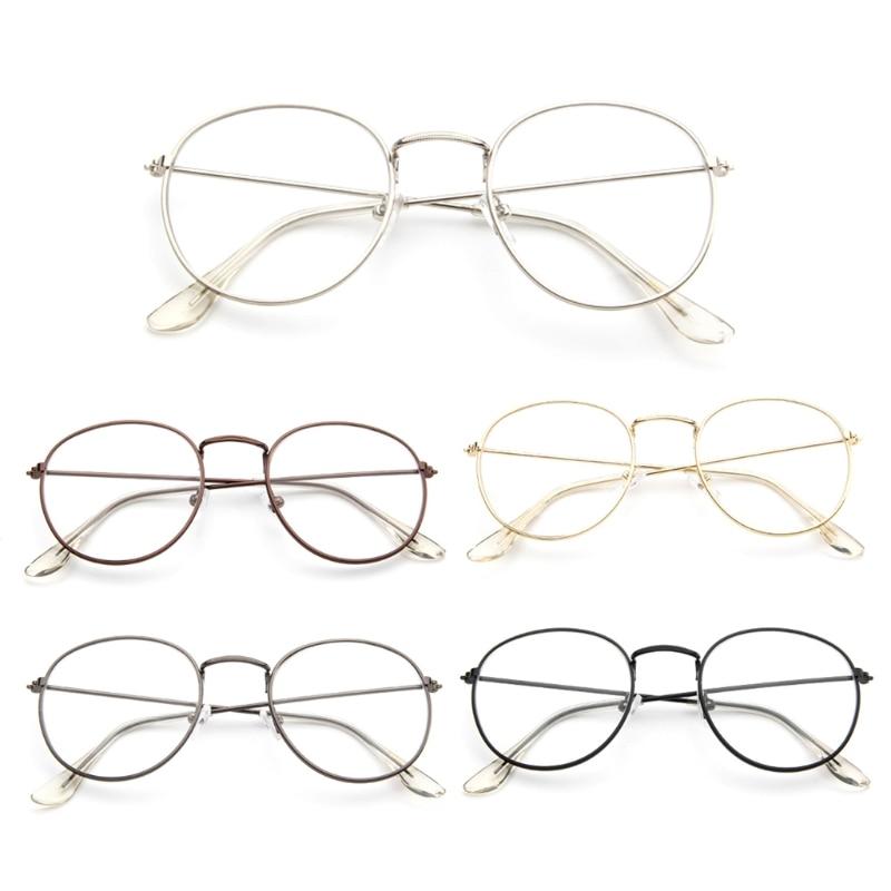 Vintage Men Women Eyeglass Metal Frame Glasses Round Spectacles Clear Lens Optical