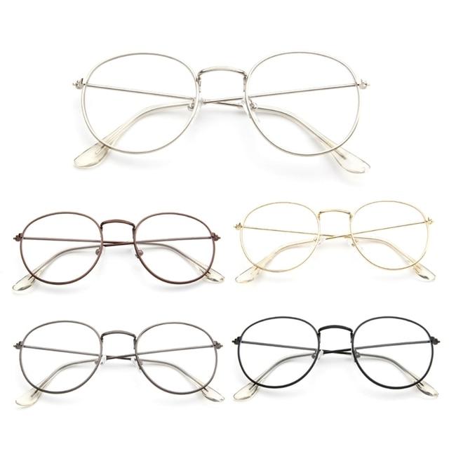 de162cd11ab Vintage Men Women Eyeglass Metal Frame Glasses Round Spectacles Clear Lens  Optical