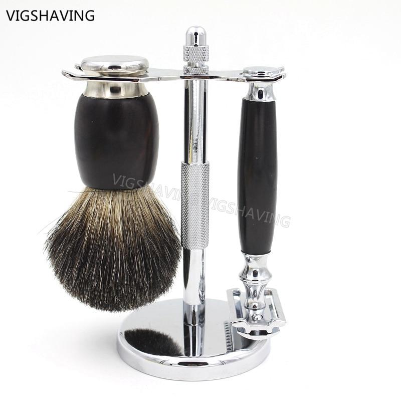 Ebony Wood Black Badger Hair Shaving Brush and Safety Razor Set for Men Shaving