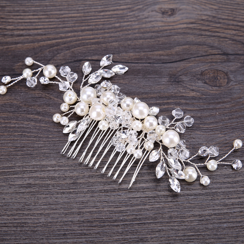 White Pearl Woven Headdress Comb Crystal Leaf Bride Head Flower Bridesmaid Accessories Bride Cute Headwear Wedding Accessories in Bridal Headwear from Weddings Events