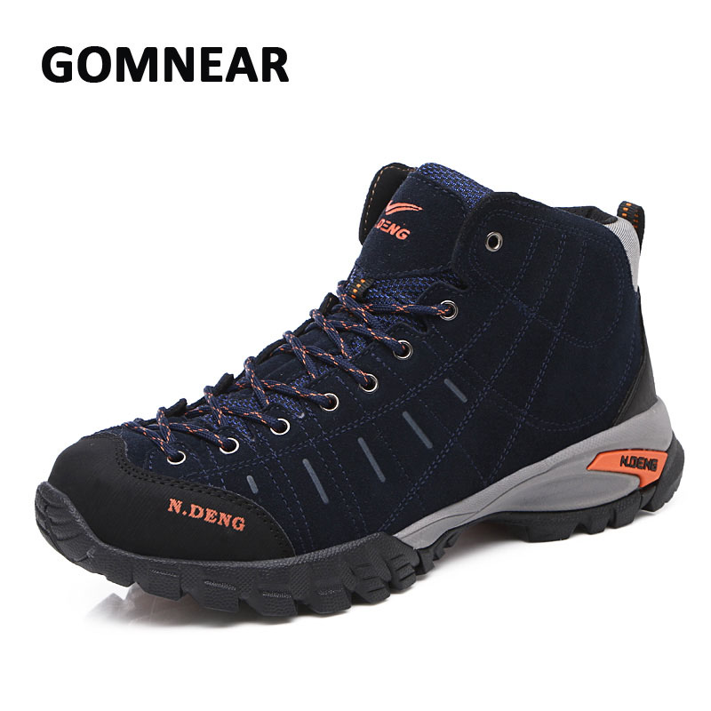 GOMNEAR Mens Warm Cotton Hiking Boots Outdoor Mountain Climbing Trekking Sneskers   Breathable Non-slip Hunting Sport Shoes gomnear winter men s hiking boots outdoor climbing toutism hunting athletic boot trend trekking warm velvet sport shoes for male