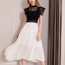 PIXY Black White Polka Dot Dress Summer Ladies Long Pleated Dresses High Waist Tunic sukienka vestidos Sexy Hollow Out Lace ins
