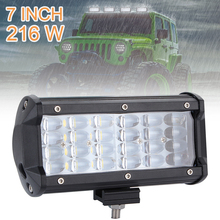 7 Inch 216W 21600LM Quad Row Off Road Combo LED Light Bar Driving Fog Lamps for Jeep SUV ATV UTV Truck Boat Car