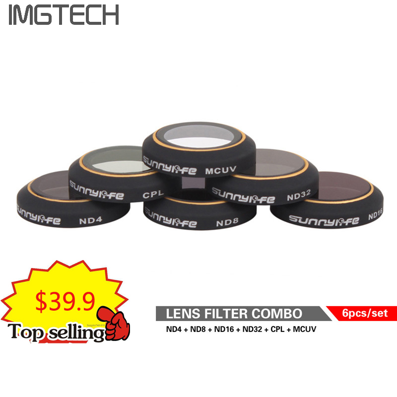 6 pc Filtres Set pour DJI MAVIC PRO/Platine ND4/8/16/32 CPL Polarisant Circulaire MCUV UV Camera Lens Filter Kit pour DJI Mavic