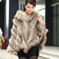 2016 Hot Sale Real Knitted Rabbit Fur And Raccoon Dog Fur Poncho With a Hood Fashion Women Rabbit Fur Shawl Fur Coat AF046