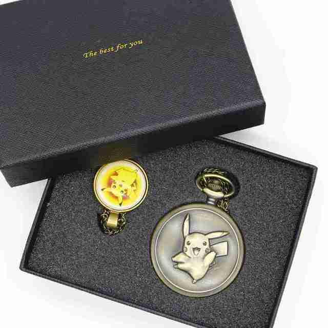 Antique Pocket Watch Cute Pokemon Design Pikachu Bronze Quartz Fob Watches With