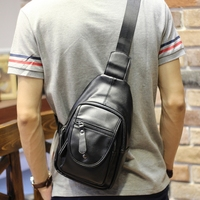 XIiao P Brand Men Chest Pack Male PU Leather Fashion Leisure Shoulder Crossbody Bag Black High