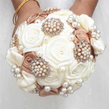 Artificial flower 15cm ribbon rose bouquet luxury rhinestone pearl decoration bride wedding ball DIY handmade bouquet - DISCOUNT ITEM  40% OFF All Category