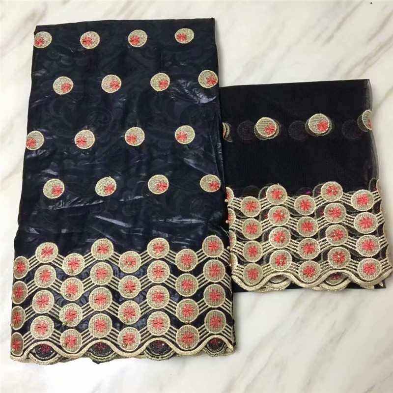 Tela de encaje africano Shadda Bazin Riche tela nuevo diseño bordado 5 yardas Bazin Riche Getzner con encaje de tul de 2 yardas para el vestido-in Tela from Hogar y Mascotas    2