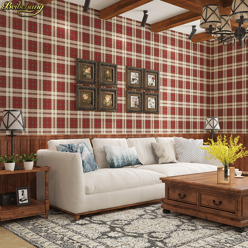 beibehang Simple European style classic plaid wallpaper Bedroom living room children's room environmental plain paper wall paper цена