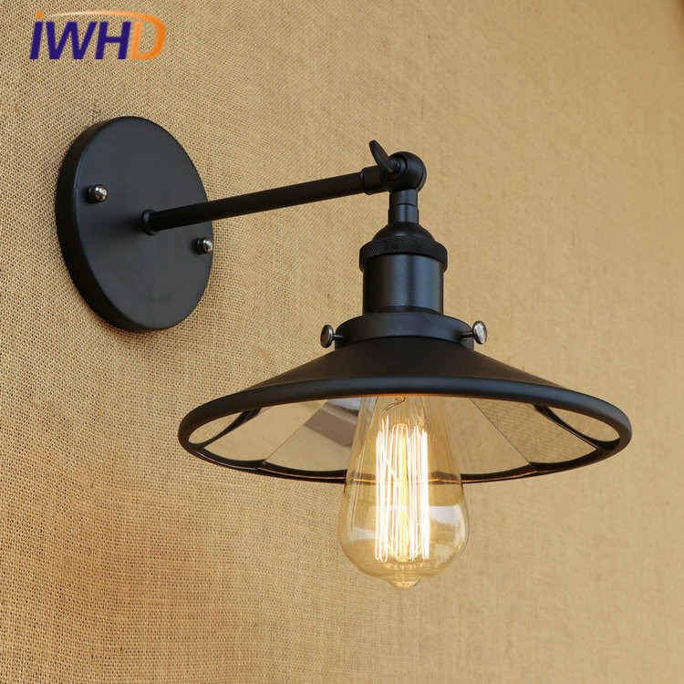 IWHD Vintage Industrial Loft LED Wall Lamp Lens Lampshade RH Retro Wall Light Fixtures Home Lighting Applique Murale Luminaire iwhd loft vintage led wall lamp glass lampshade retro industrial wall lights bedside light fixtures for home lighting luminaire