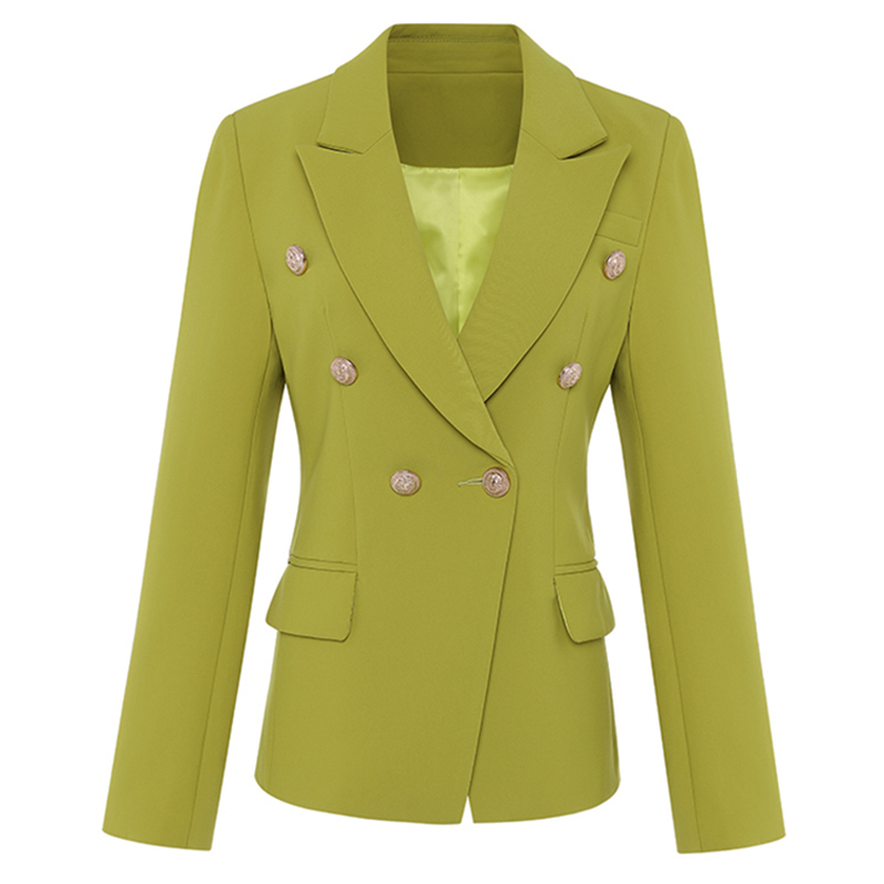 HIGH QUALITY New Fashion 2020 Classic Designer Blazer Women's Metal Buttons Double Breasted Blazer Jacket Ginger Yellow