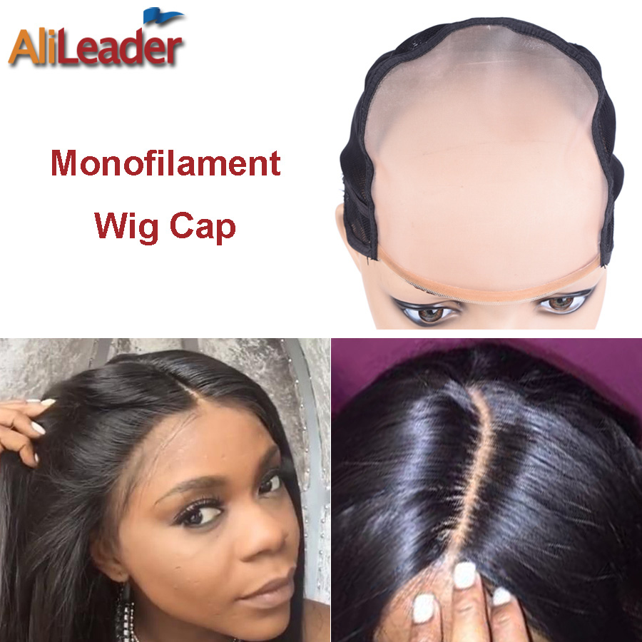 Best 5*5 MONO Wig Caps For Making Wigs With Strech Factory Sale Monofilament Wig Cap Medium Size Beige Free Natural Parting 54CM