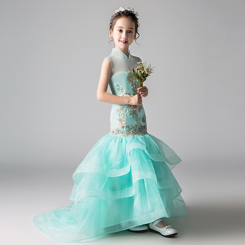 Luxury Mermaid Flower Girl Dresses For Wedding Larered Trailing Stand Collar Chinese Style Kids Pageant Dress For Birthday