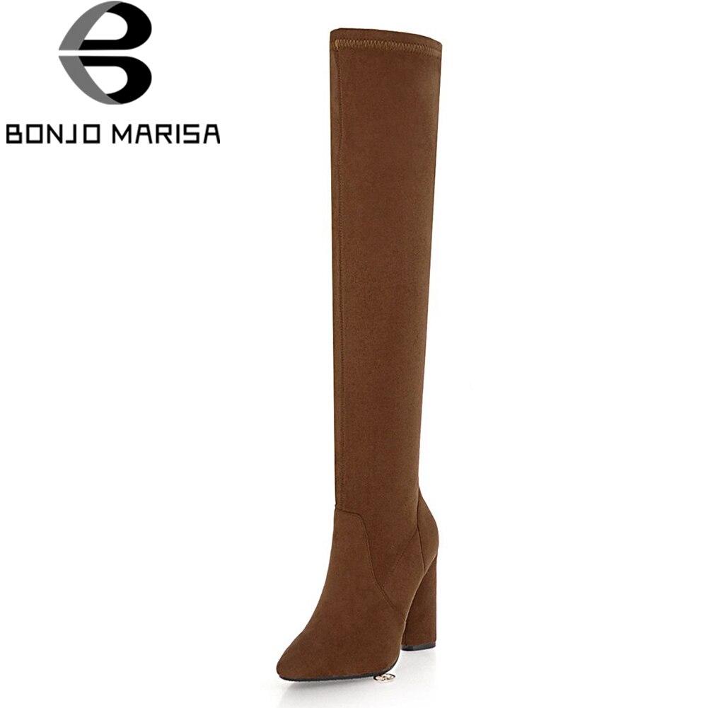 d7fb5e29731b7 Femme 2019 camel Automne marron Fur 33 Noir Plus Fur Bout Genou Pointu  Taille Sexy black Bottes Haute 46 Femmes Add ...