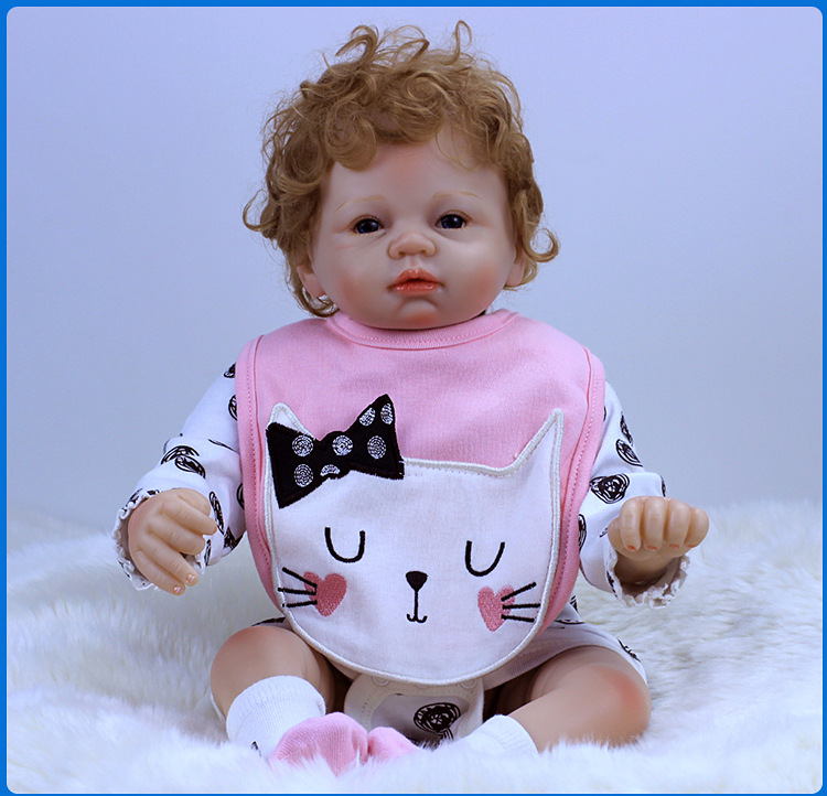 2018 New Arrival 22 inch 55cm Silicone baby Reborn Vinyl Doll Curly Hair Bebe Reborn Babies Toys for child Juguetes Brinquedos 2016 new 22 55cm doll reborn babies dolls baby toys simulation baby dolls silicone bebe reborn for kid brinquedos gift juguetes