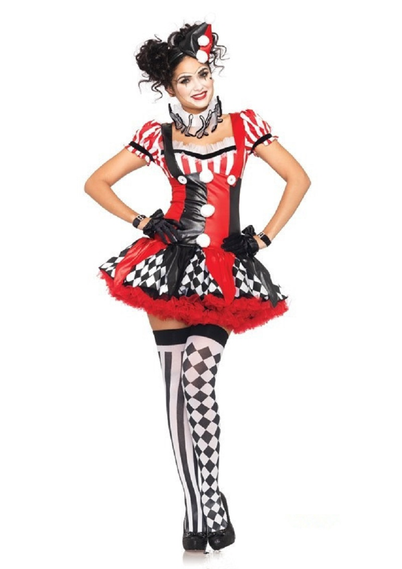 Adult Women/'s Funny Clown Costume Circus Carnival Fancy Dress