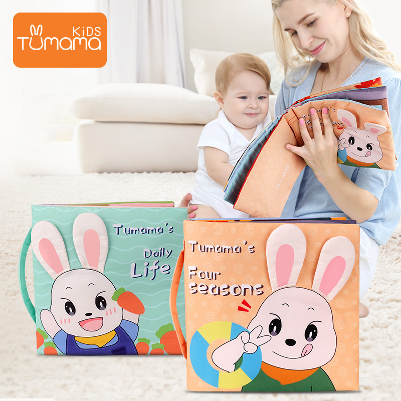Tumama 3d Soft Cloth Baby Books Animals&Rabbit Baby Book Cloth For Toddlers Intelligence Development Educational Toy 0 12 Months