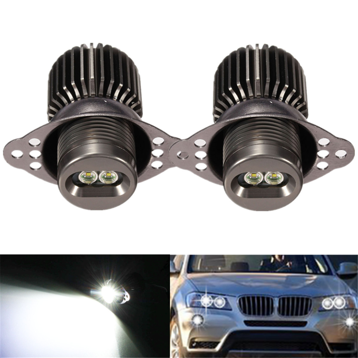 2Pcs 20W Car LED Side Marker Bulb Angel Eye Halo Ring Light For BMW E90 E91 Error Free 6500K