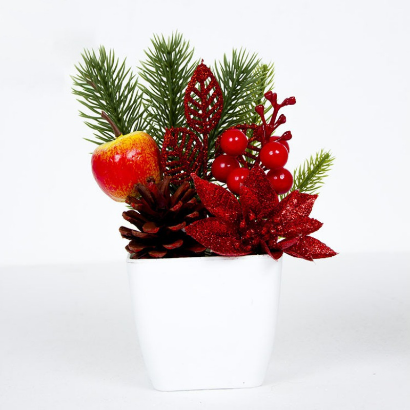 Christmas Bonsai Artificial Desktop Potted Plant Ornaments Innovative Small Gifts Pinecones ...
