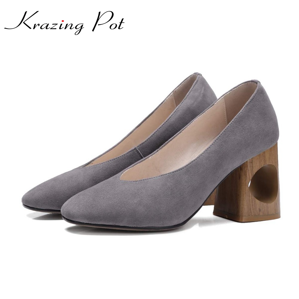 2018 Krazing Pot shoes women fashion hollow med heels genuine leather pumps slip on ladies shoes square toe nude work pumps L88