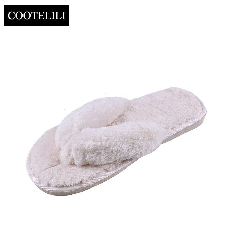COOTELILI Donne di Modo di Inverno Pantofole A Casa Faux Fur Warm Scarpe Donna Slip on Appartamenti Pelliccia Femminile Infradito Rosa Più Il Formato 36-41