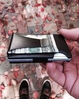 L-04 RFID Anti-chief Metal aluminum Mini Credit Card ID Holder wallet with money clip