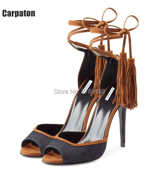 2017 Big Size Top Design Lady High Heels Sandals Sexy Tassel Women Gladiator Sandal Open Toe Summer Dress Party fringe Shoes excellent design sandalias femininas tassels sandal summer shoes fashion design high heels gladiator womens sandals shoes