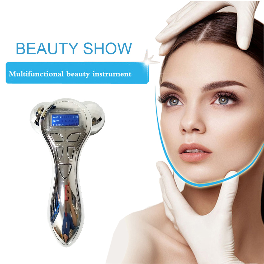 Micro-current Vibration 3D Roller 360 Rotate Full Body Massager Anti Cellulite Face Skin Lifting Tighten Wrinkle Remover Tools
