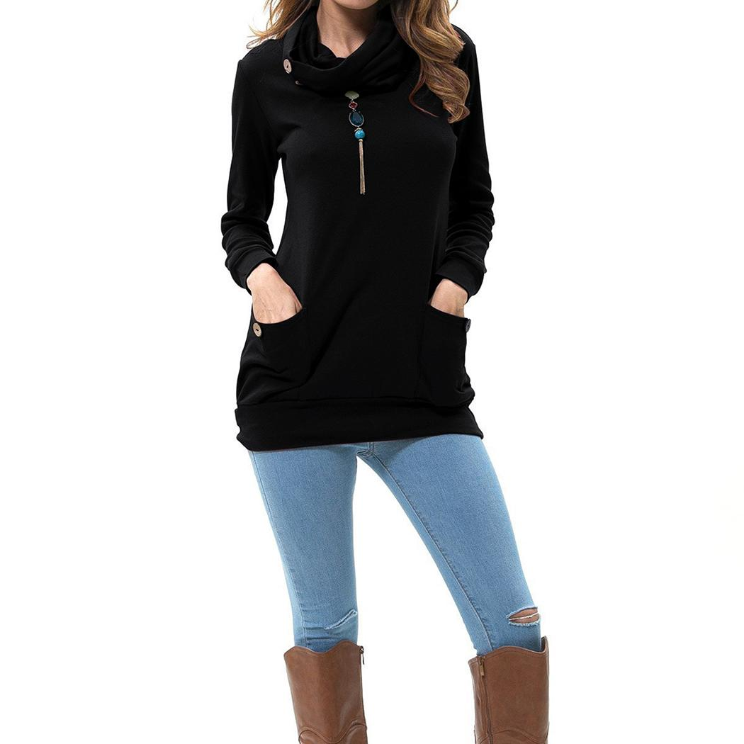 Autumn Sweatshirt Top Women 2017 Hoodies Pullover Tops Casual Cowl Neck Long Sleeve Button Pockets Solid Women's Sweatshirts Top